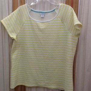 Jaclyn Smith Yellow and White Striped Blouse